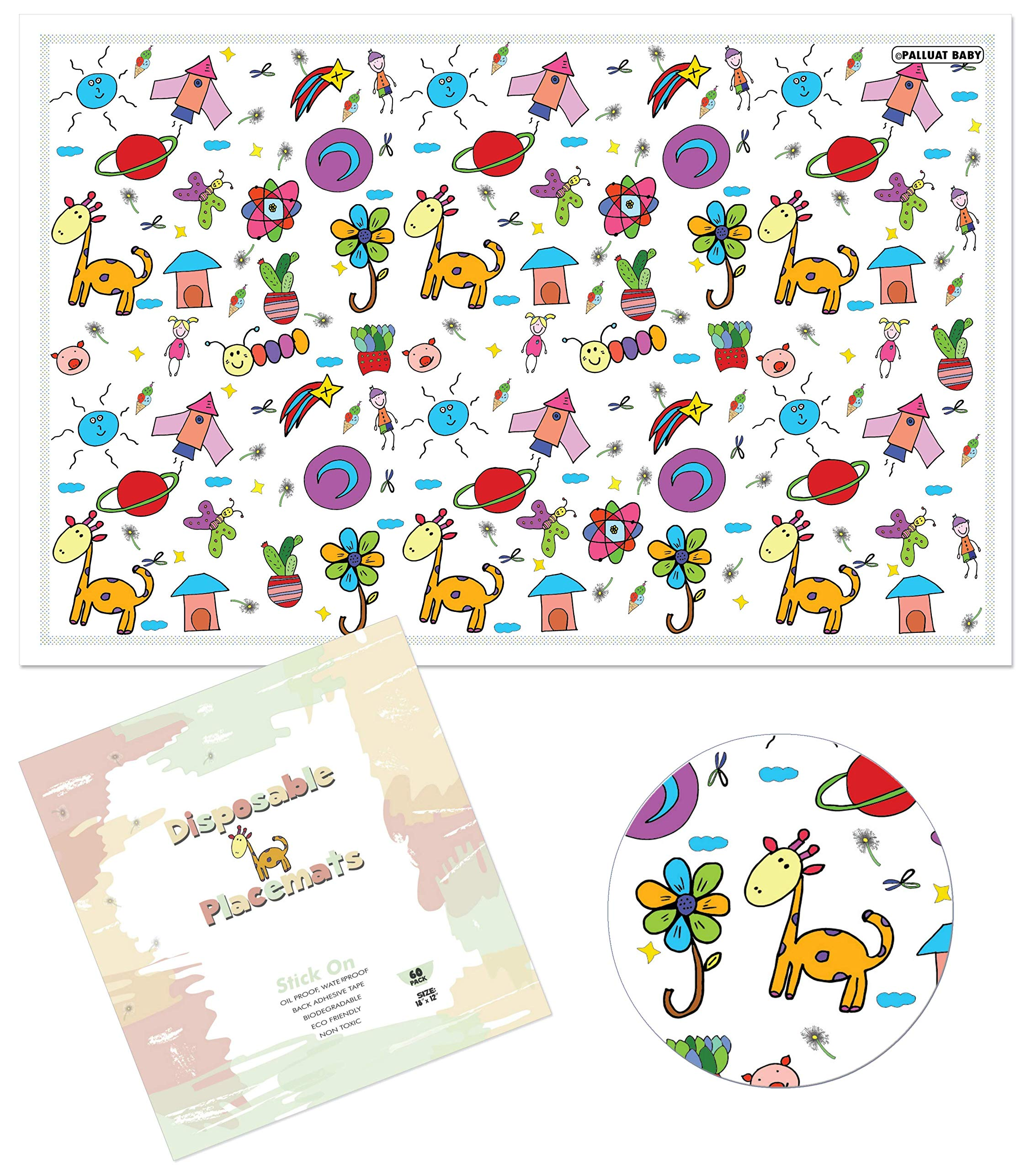 Disposable Placemats For Children Baby Toddlers Kids by Palluat   Extra Sticky Strips, Table Top, Restaurants   Enjoy Meals, No Cleaning - Ecofriendly 18''x12'' - 60 Count Individually Folded