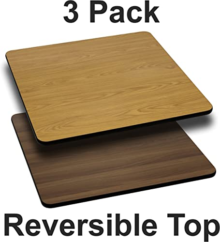 Flash Furniture 3 Pk. 24 Square Table Top with Natural or Walnut Reversible Laminate Top