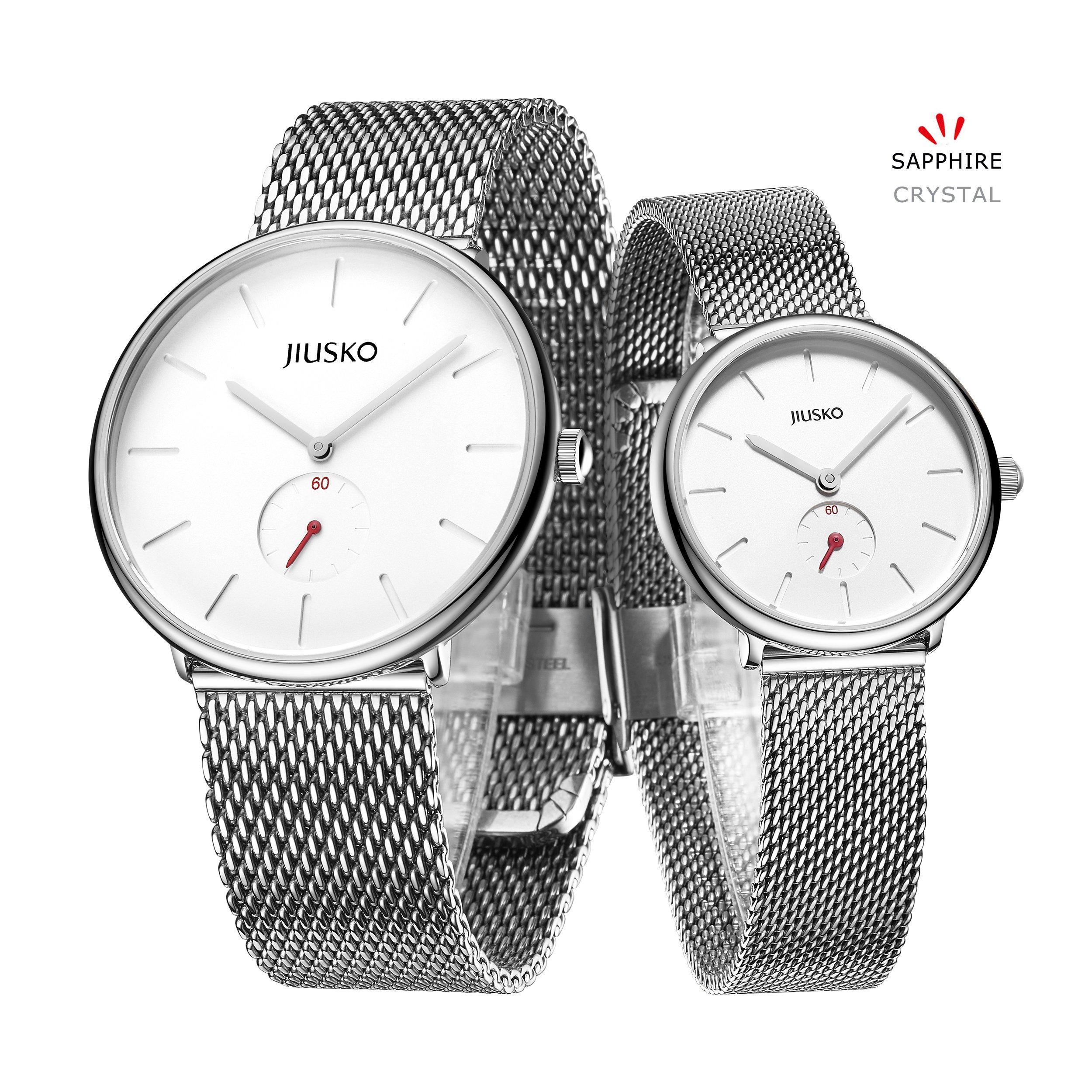 Jiusko Sapphire - His Her Slim Quartz Wrist Watch - Steel Mesh - 393 (Couple - Silver)