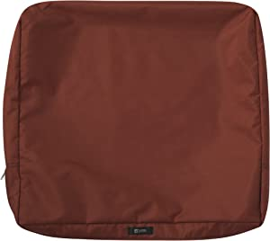 Classic Accessories Ravenna Water-Resistant 21 x 20 x 4 Inch Patio Back Cushion Slip Cover, Spice
