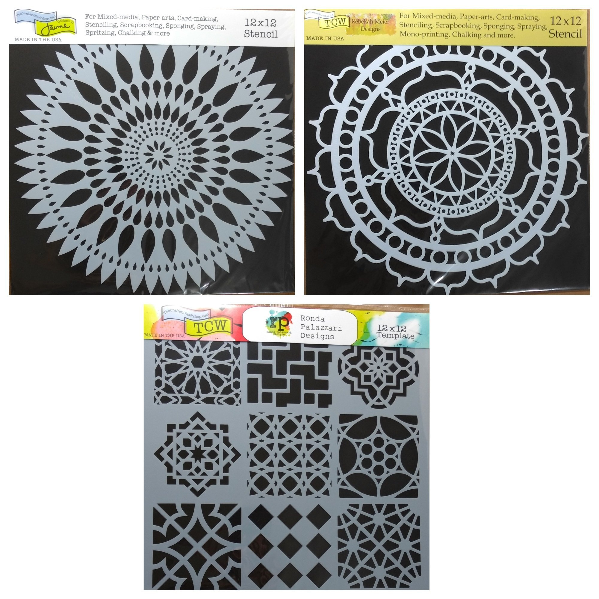 3 Crafters Workshop Large Mixed Media Stencils Set   for Arts, Card Making, Journaling, Scrapbooking   12 Inch x 12 Inch Templates   To Make Mandala, Mexican Tile, Flower Designs and More