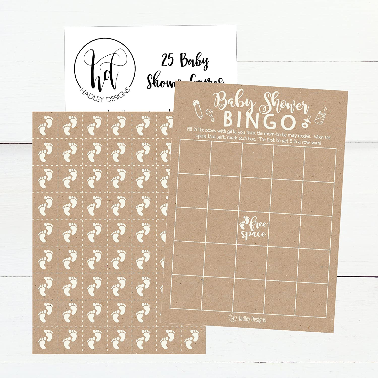 25 Rustic Kraft Bingo Game Cards For Baby Shower, Bulk Blank Bingo Squares,  PLUS 25 Pack of Baby Feet Game Chips, Funny Baby Party Ideas and Supplies