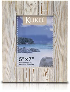 Klikel Distressed Wood 5 X 7 Picture Frame - White Solid Wooden Wall Hanging and Table