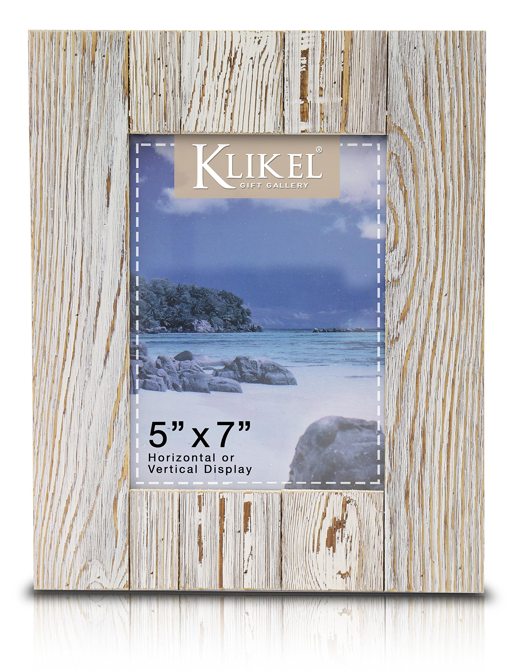 Klikel Distressed Wood 5 X 7 Picture Frame - White Solid Wooden Wall Hanging and Table Standing Photo Frame