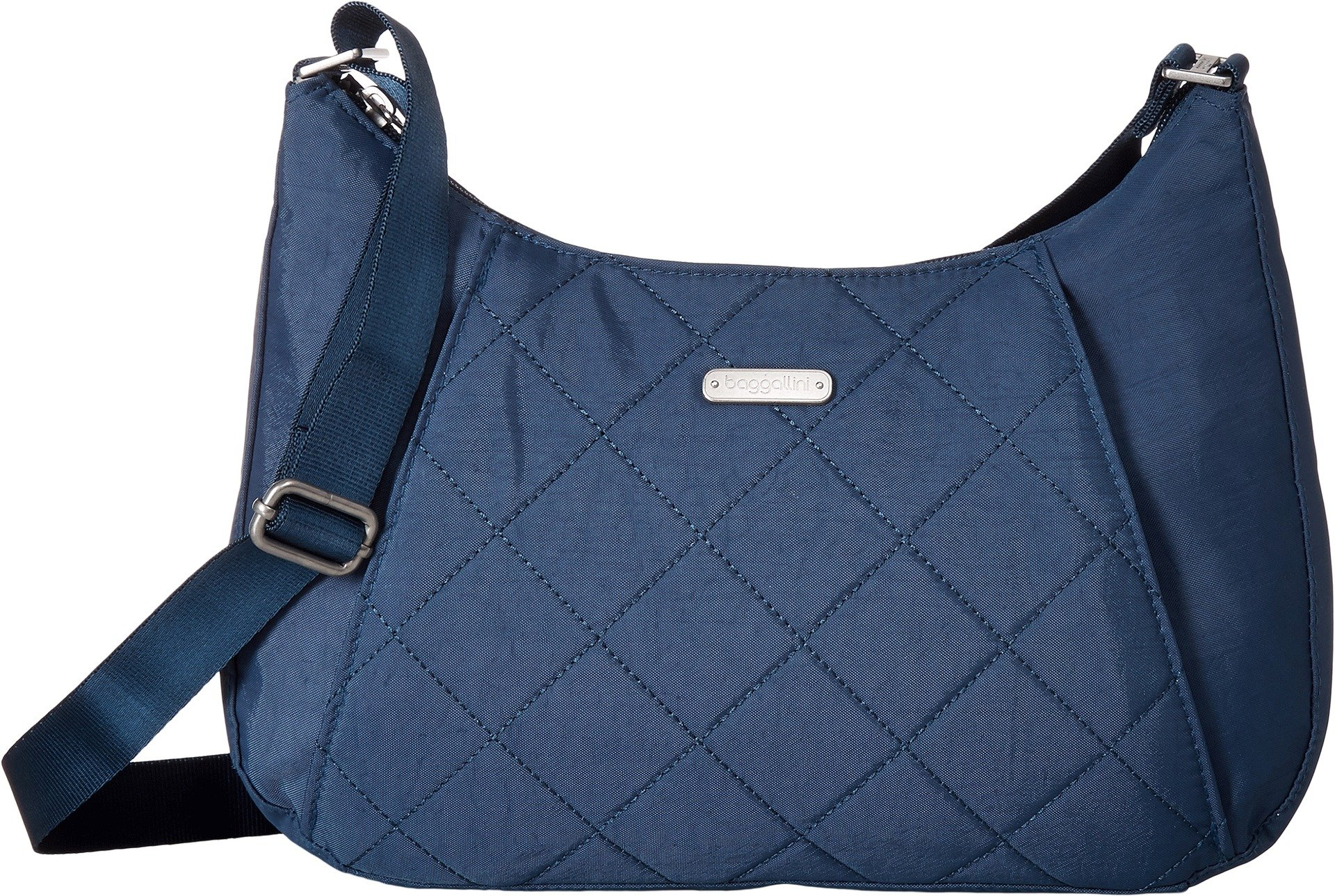 Baggallini Quilted Slim Crossbody Hobo with RFID, Slate