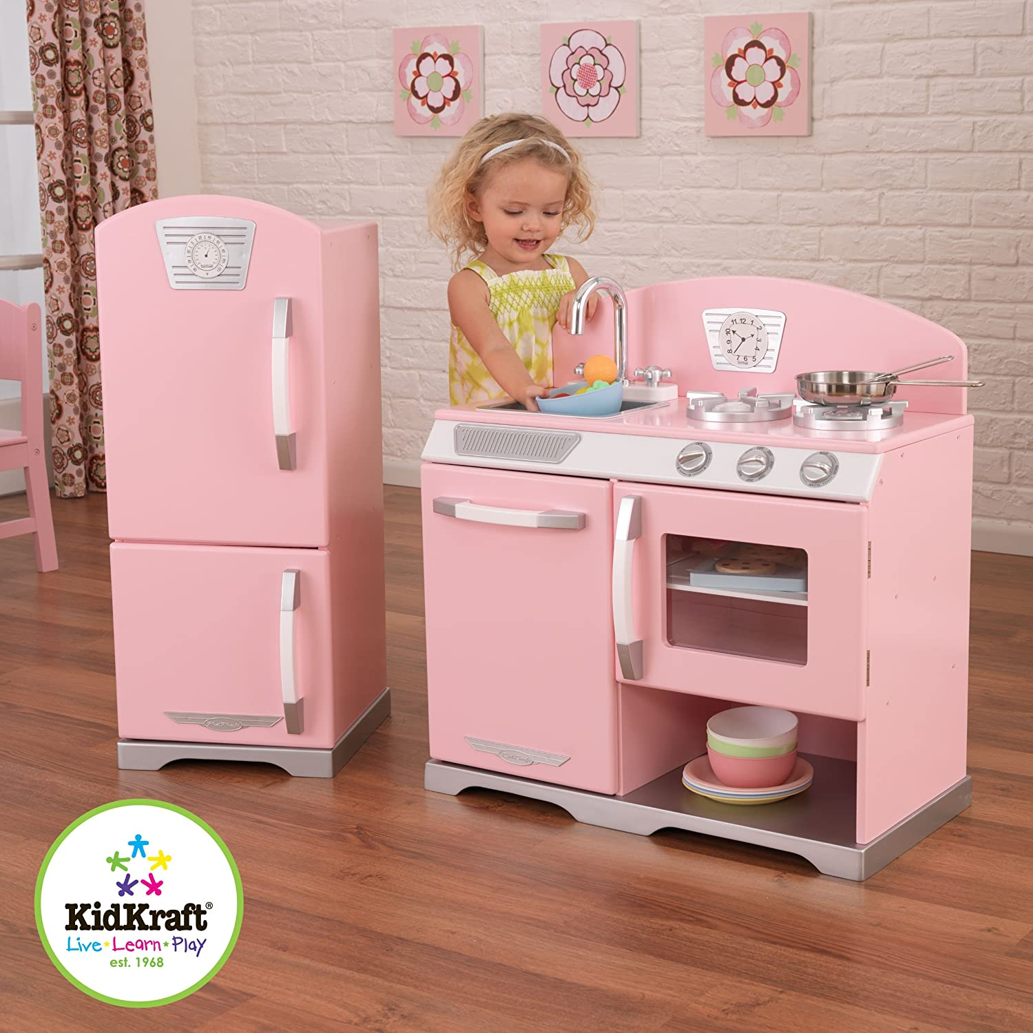 kidkraft retro kitchen and refrigerator in pink toys