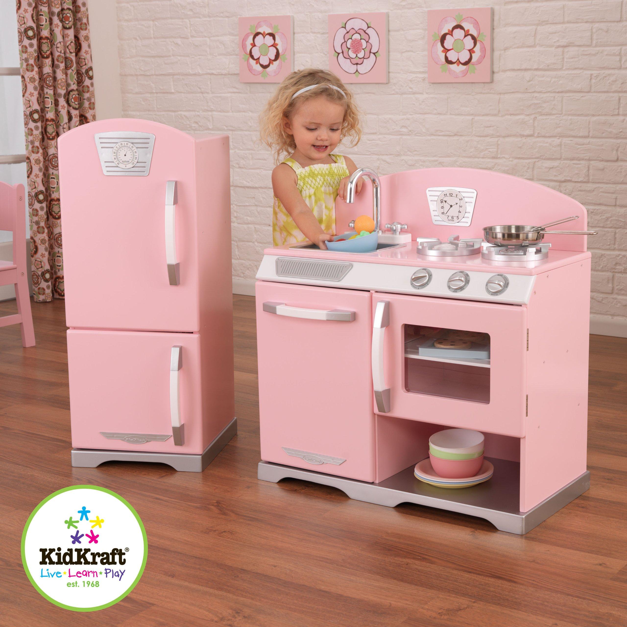 Kidkraft Retro Kitchen And Refrigerator In Pink Buy Online In
