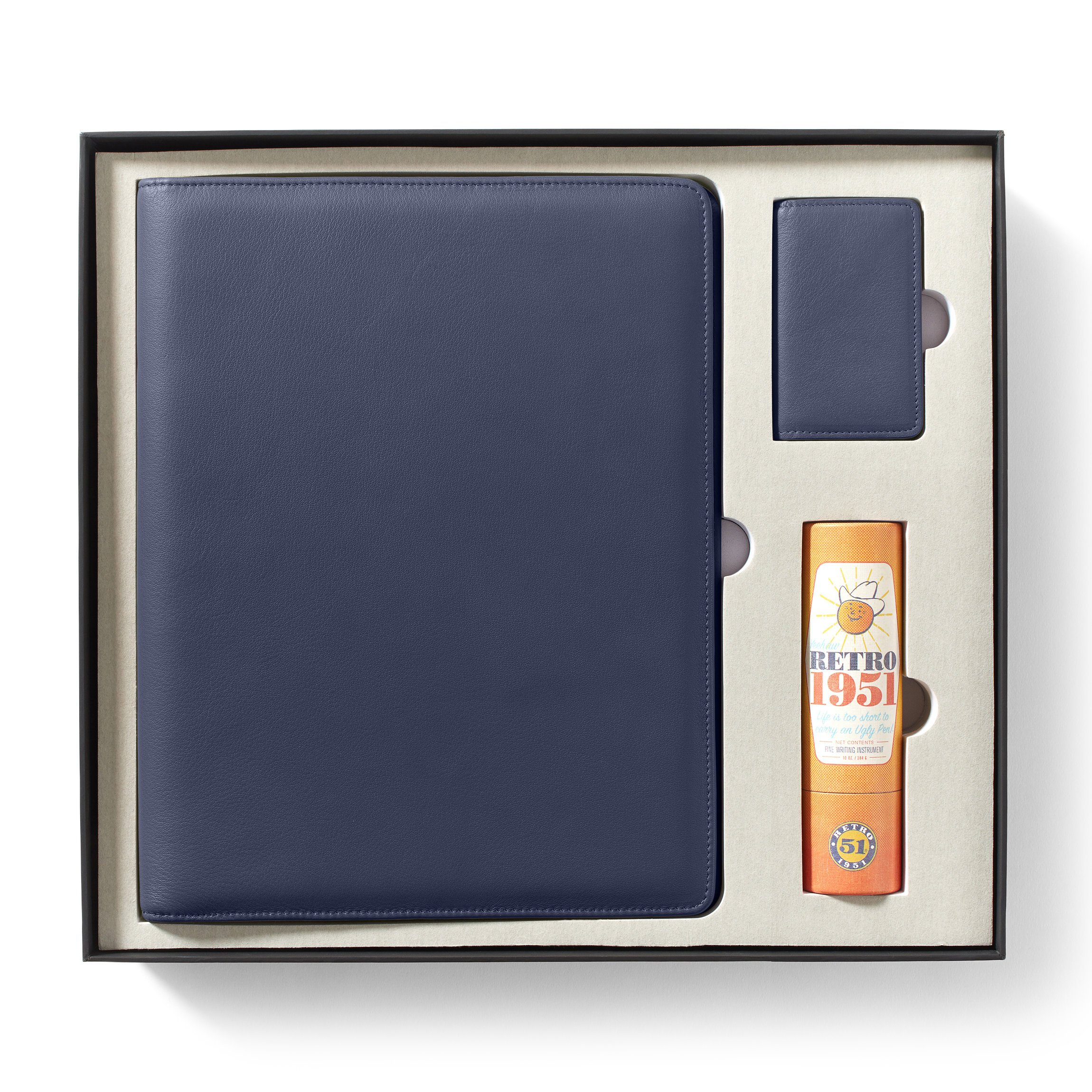 Leatherology Gift Set with Padfolio & Business Card Case - Full Grain Leather - Navy (blue)