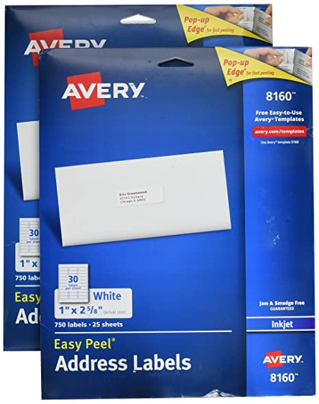 amazon com avery easy peel address labels for inkjet printers 1 x