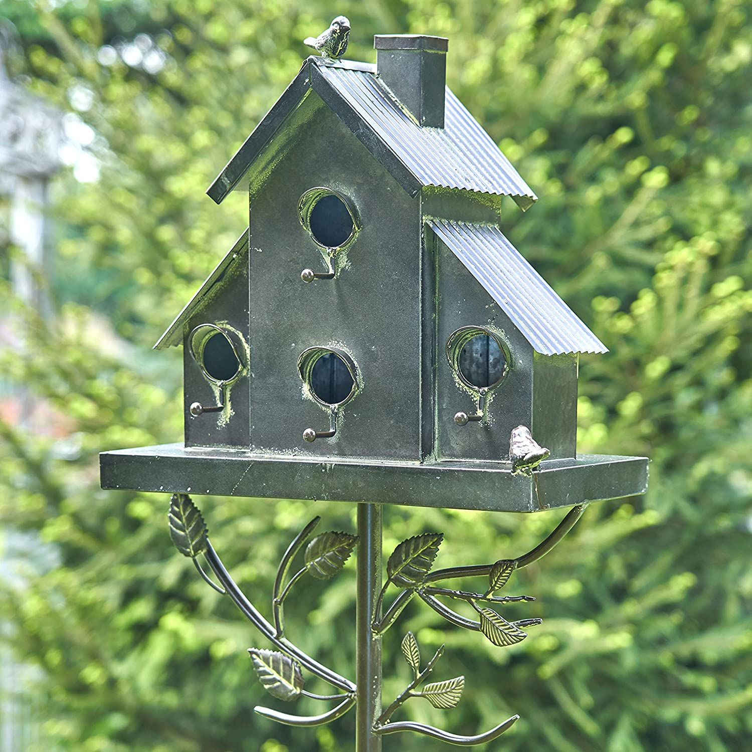 Town House with Tall Chimney Room for 3 Bird Families in Each Garden Home Decoration Handcrafted Large Galvanized Multi-Birdhouse Stakes