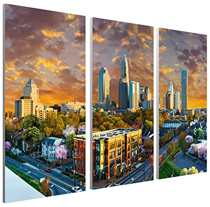 Pingo World 0817QHZR0RS U0026quot;Charlotte Sunset Skylineu0026quot; Gallery  Wrapped Canvas Triptych Wall Art,