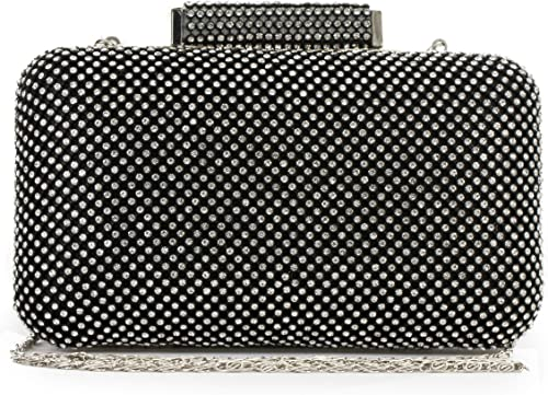 Womens Diamante Encrusted Structured Minaudiere Prom Clutch Evening Bag Purse