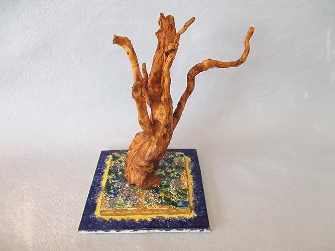 Treibholz Wurzel Skulptur Baum Mit Getöpfertem Keramik