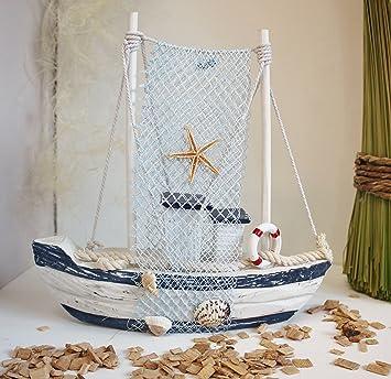Deko Schiff Maritim Holzsegelboot Fischernetz Maritimdeko Holzdeko