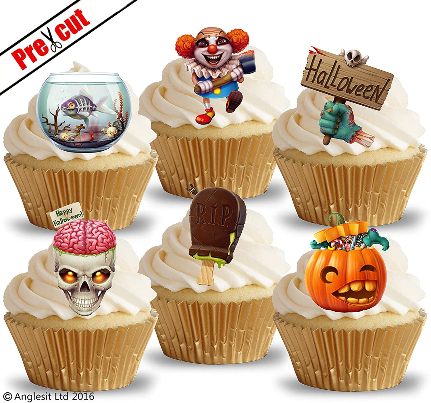 35 x Pre Cut Halloween Cake Cupcake Toppers//Decorations Edible Wafer Paper