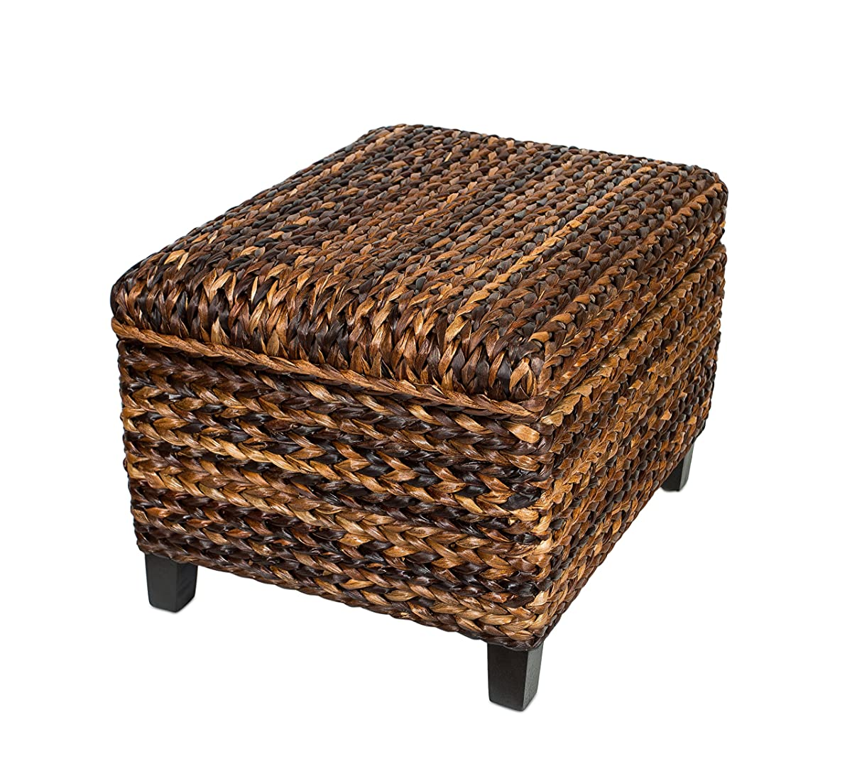 BirdRock Home Woven Seagrass Storage Ottoman | With Safety Hinges