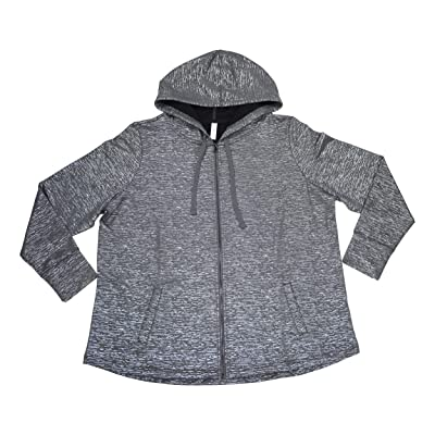 Ideology Plus Size Metallic Design Drawstring Hoodie Full Zip Jacket (Charcoal Heather, 3X): Clothing