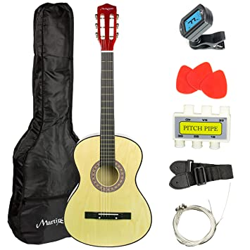 Amazon Com Martin Smith 38 Inch Acoustic Guitar Natural With Case