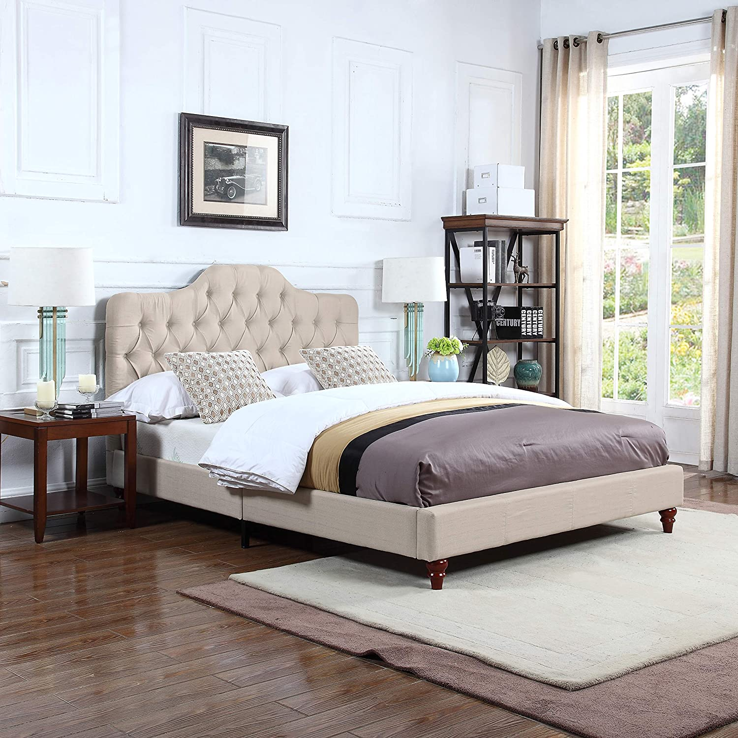 Divano Roma Furniture Classic Ivory Tufted Fabric Low Profile Bed Frame (Full)