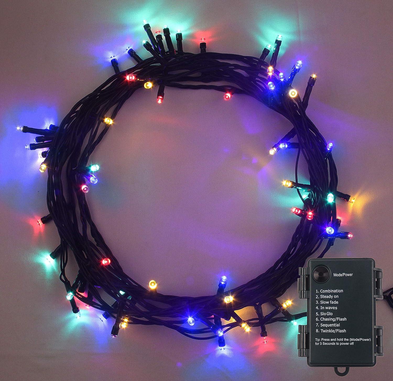 Weihnachtsbeleuchtung, Lichterkette 100 LED MEHRFARBIG Innen- und ...