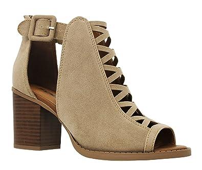 MVE Shoes Womens Stylish Comfortable Open Toe Cut Out Heeled Sandal