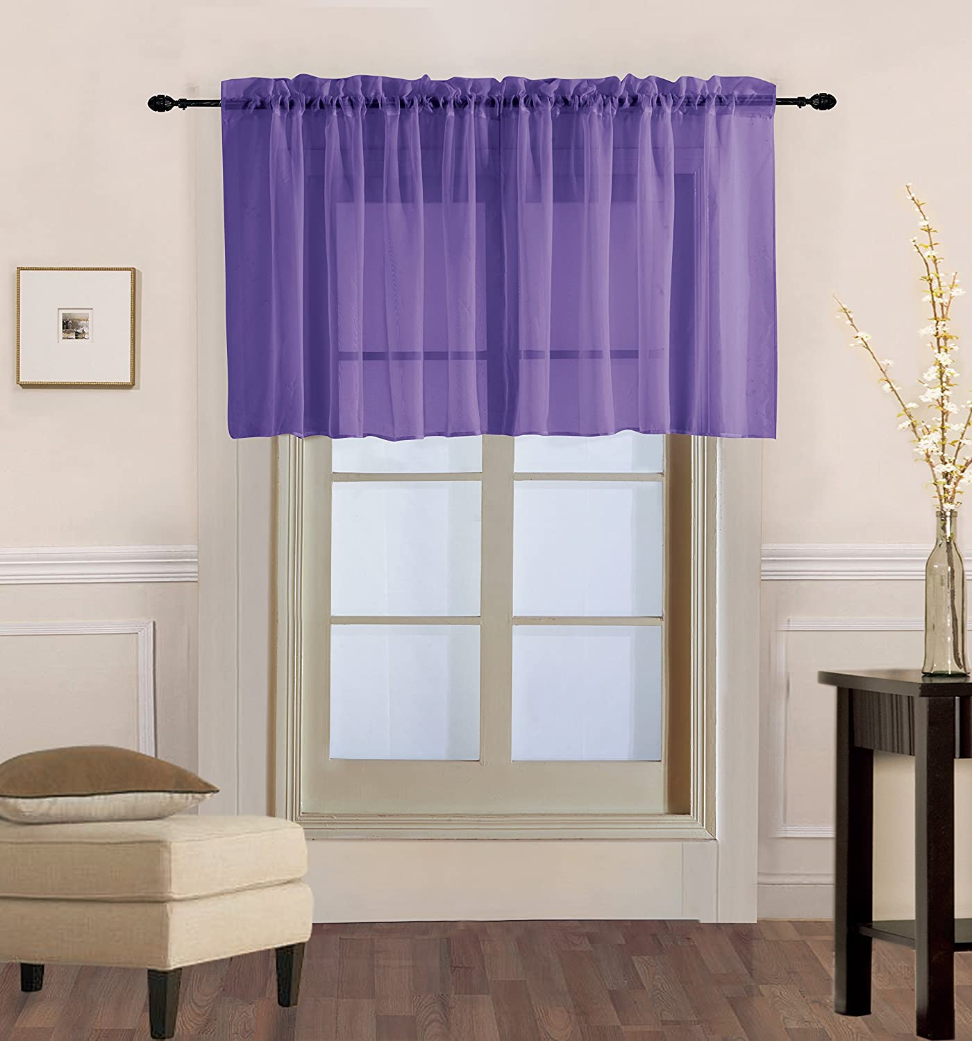 "Luxury Discounts 1 PC Solid Rod Pocket Sheer Window Curtain Treatment Drape Voile Panel In Variety Of Colors (54"" X 36"", Purple)"