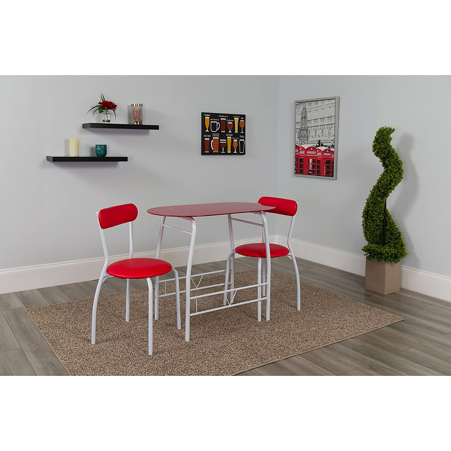 Flash Furniture Sutton 3 Piece Space-Saver Bistro Set with Red Glass Top Table and Red Vinyl Padded Chairs