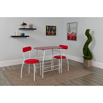 Amazoncom Flash Furniture Sutton 3 Piece Space Saver Bistro Set