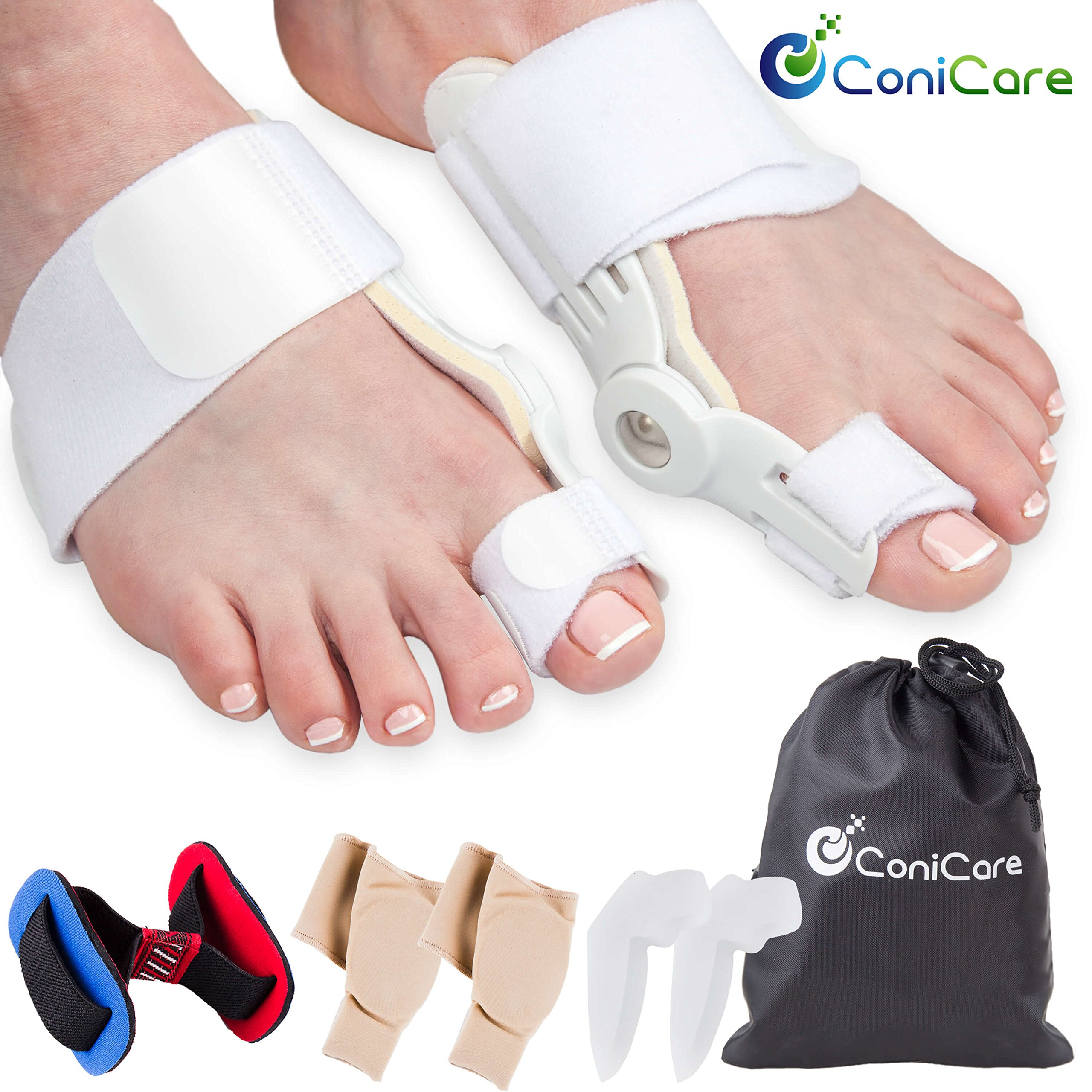 Orthopedic Bunion Corrector Relief And Protector Splint Sleeve 8 Piece Kit - Hallux Valgus Pain Relief, Big Toe Joint, Hammer Toe, Toe Separator Spacer And Big Toe Straightener Splint Correction Aid by Conicare