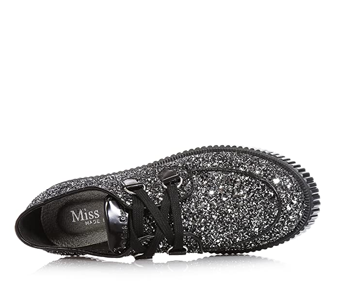 MISS GRANT - Silver shoe with glitters, elegant and glamourous style, with  logo on the tongue, small back heel made of black leather, black laces,  Child, ...