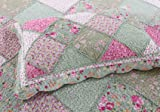 DECMAY Queen Size Cotton Quilt Set Countryside Farm House Style Flower Bedspread Pastoral Country Flowers Reversible Super Soft Bed Cover Lightweight Thin Comforter for Girls