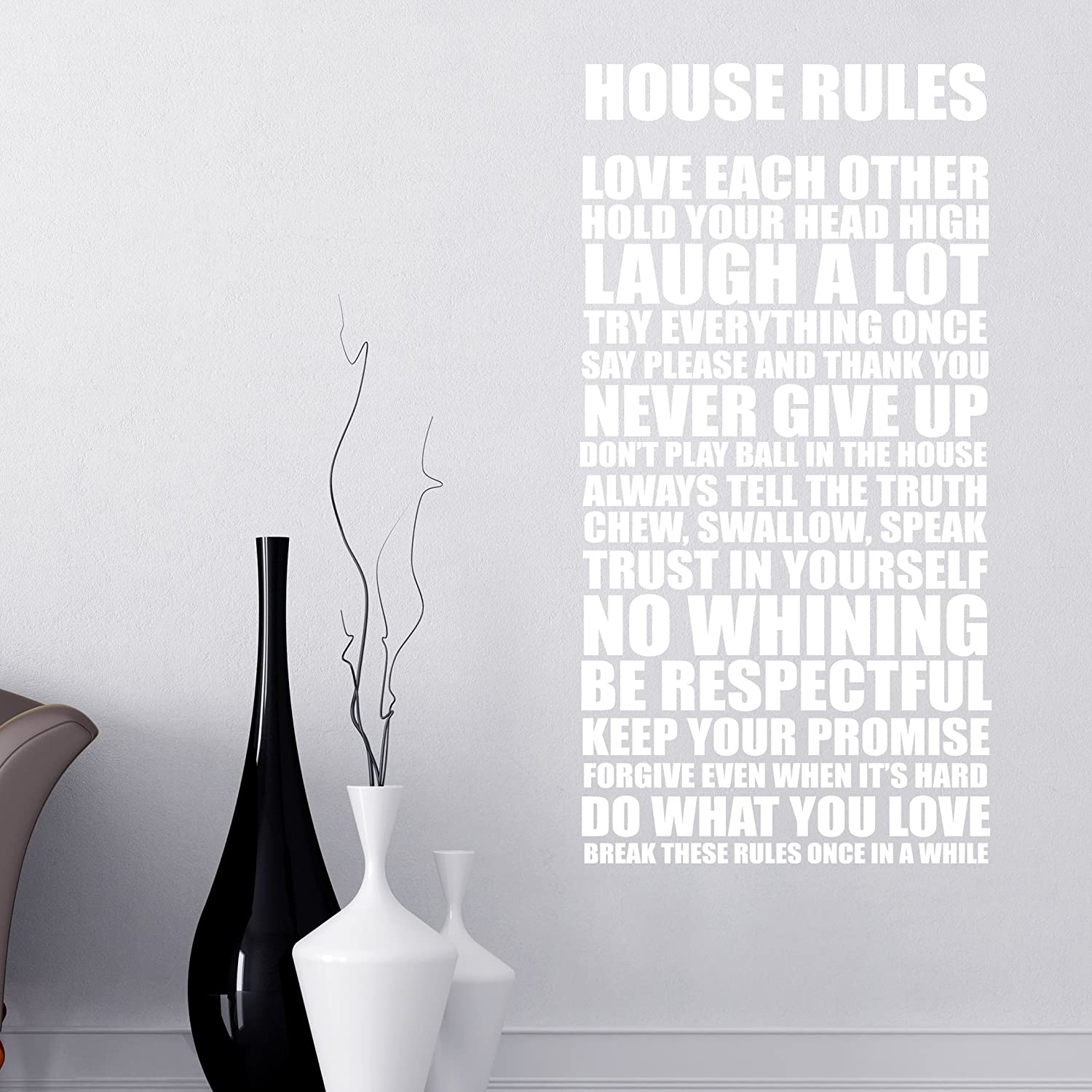 house rules family words quotes wall stickers decals motto white house rules family words quotes wall stickers decals motto white amazon co uk kitchen home