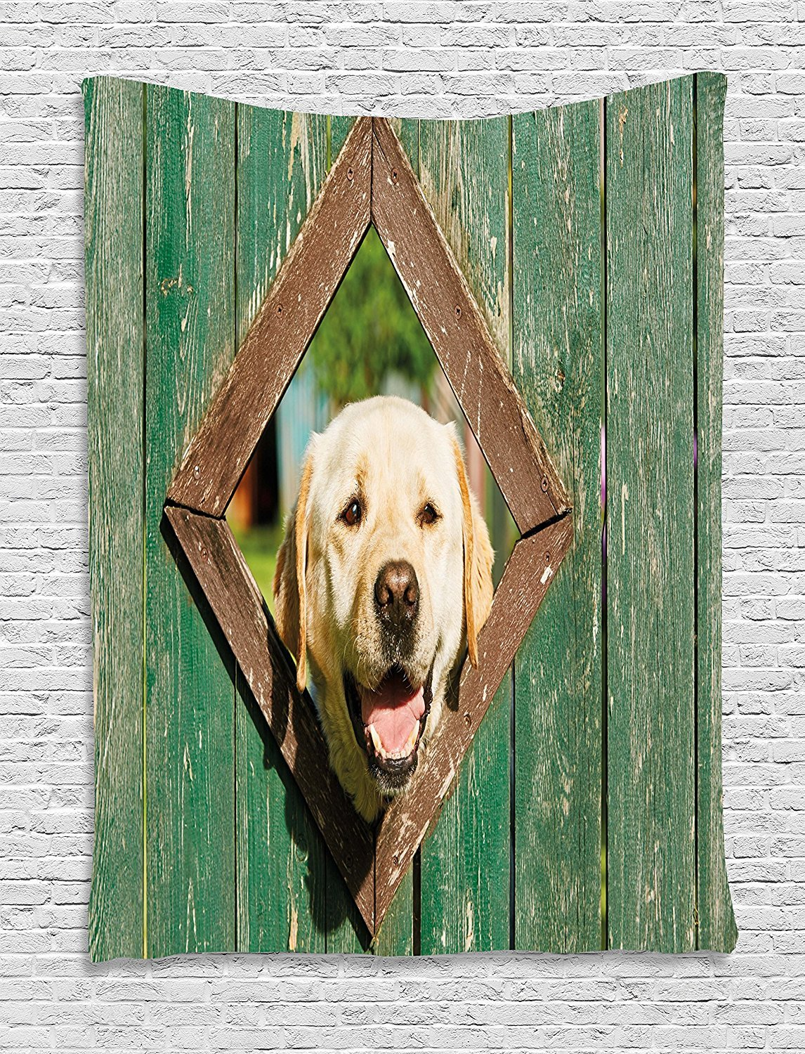asddcdfdd Funny Tapestry, Curious Dog is Looking from Window in Old Rustic Wooden Fence Cheerful Print, Wall Hanging for Bedroom Living Room Dorm, 60 W X 80 L Inches, Forest Green Brown