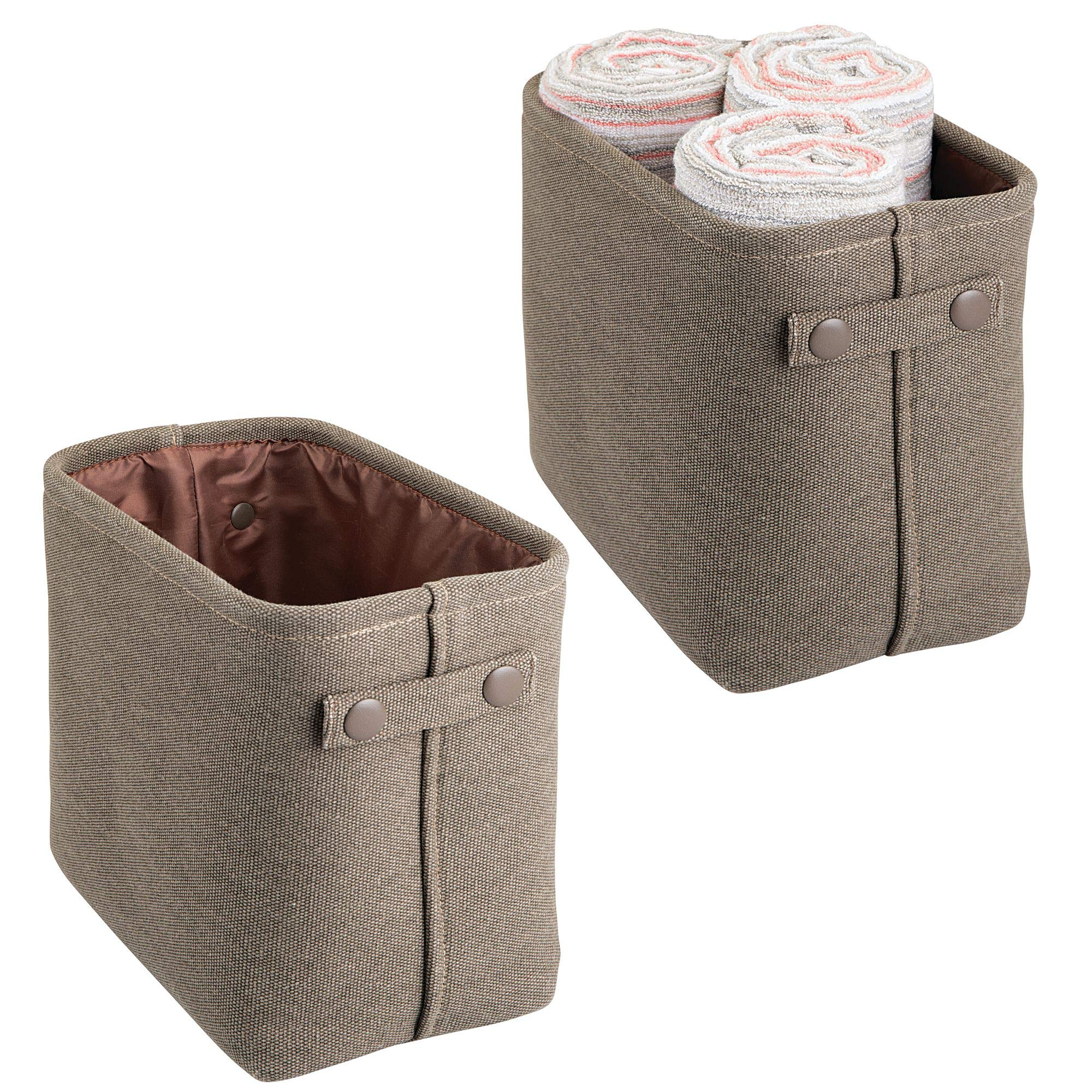 mDesign Soft Cotton Fabric Bathroom Storage Bin Basket with Coated Interior and Attached Handles - Organizer for Closets, Cabinets, Shelves - Pack of 2, Rectangular with Textured Weave, Espresso/Brown by mDesign