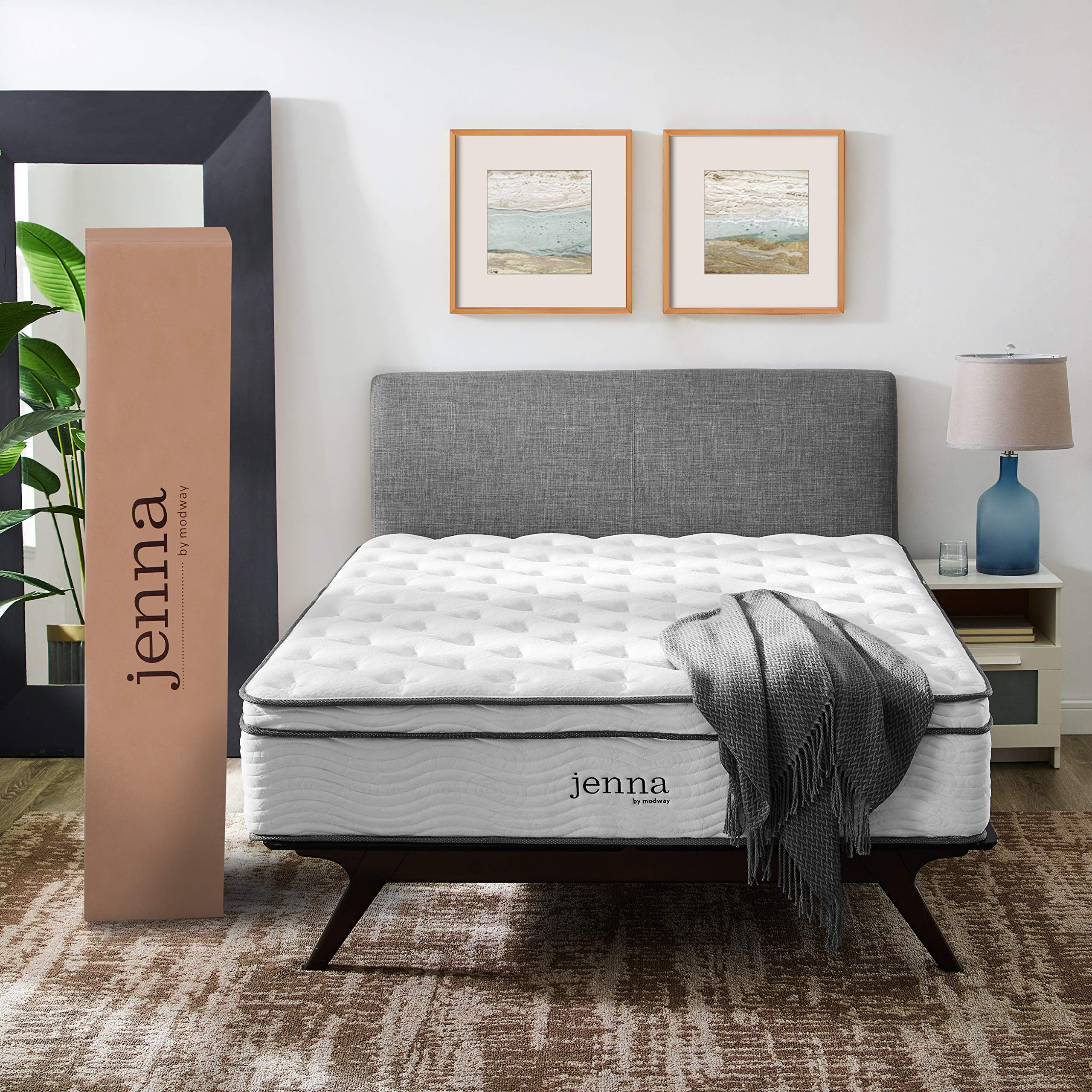 Modway Jenna 14'' California King Innerspring Mattress - Top Quality Quilted Pillow Top - Individually Encased Pocket Coils - 10-Year Warranty by Modway
