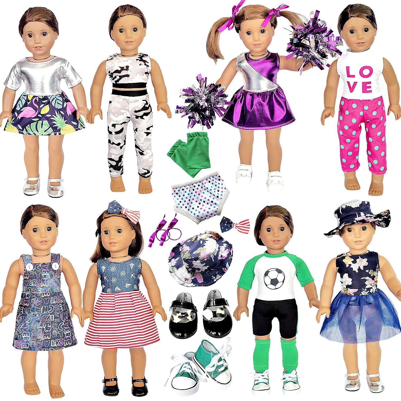 20 Pcs American Doll Clothes und Accessories passen American 18 Inch Girl Dolls - Including 8 Complete Satz Toys Doll Outfits und 2 Pairs Shoes, Doll Accessories mit Cap, Underwear und Hair Clip