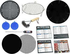 Air Fryer 7 inch Grill Rack & Pan Accessories Kit Compatible with Ninja, GoWise USA, Chefman, Maxi-Matic Elite Platinum, Costway, Secura, Bella, Habor, Chulux + More | Set of 13 Cooking & Baking Tools