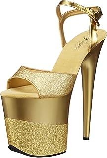 Gold glitter 20 cm Pleaser FLAMINGO 809LG Pole dancing high heels shoes