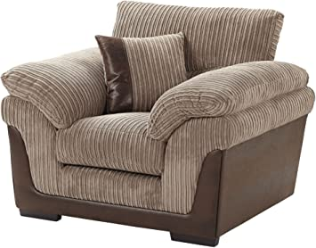 tesco kendal jumbo cord faux leather armchair taupe amazon co