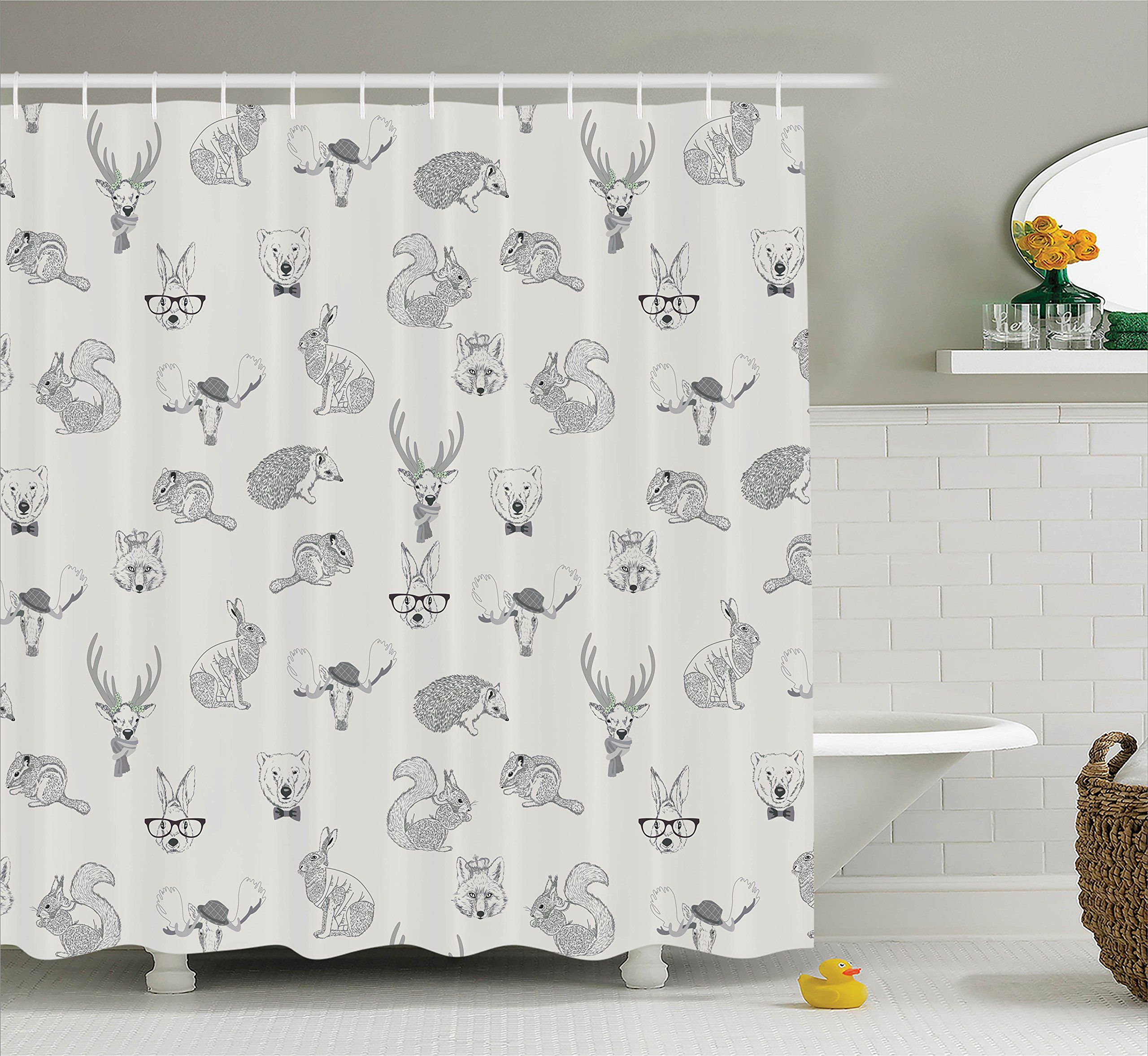 Ambesonne Grey Decor Collection, Illustration of Weird Forest Animals in Retro Style Rabbit Fox Dear Wild Life Boho Chic Art Home, Polyester Fabric Bathroom Shower Curtain Set with Hooks, Gray by Ambesonne