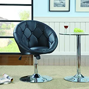 Round Tufted Swivel Chair Black and Chrome