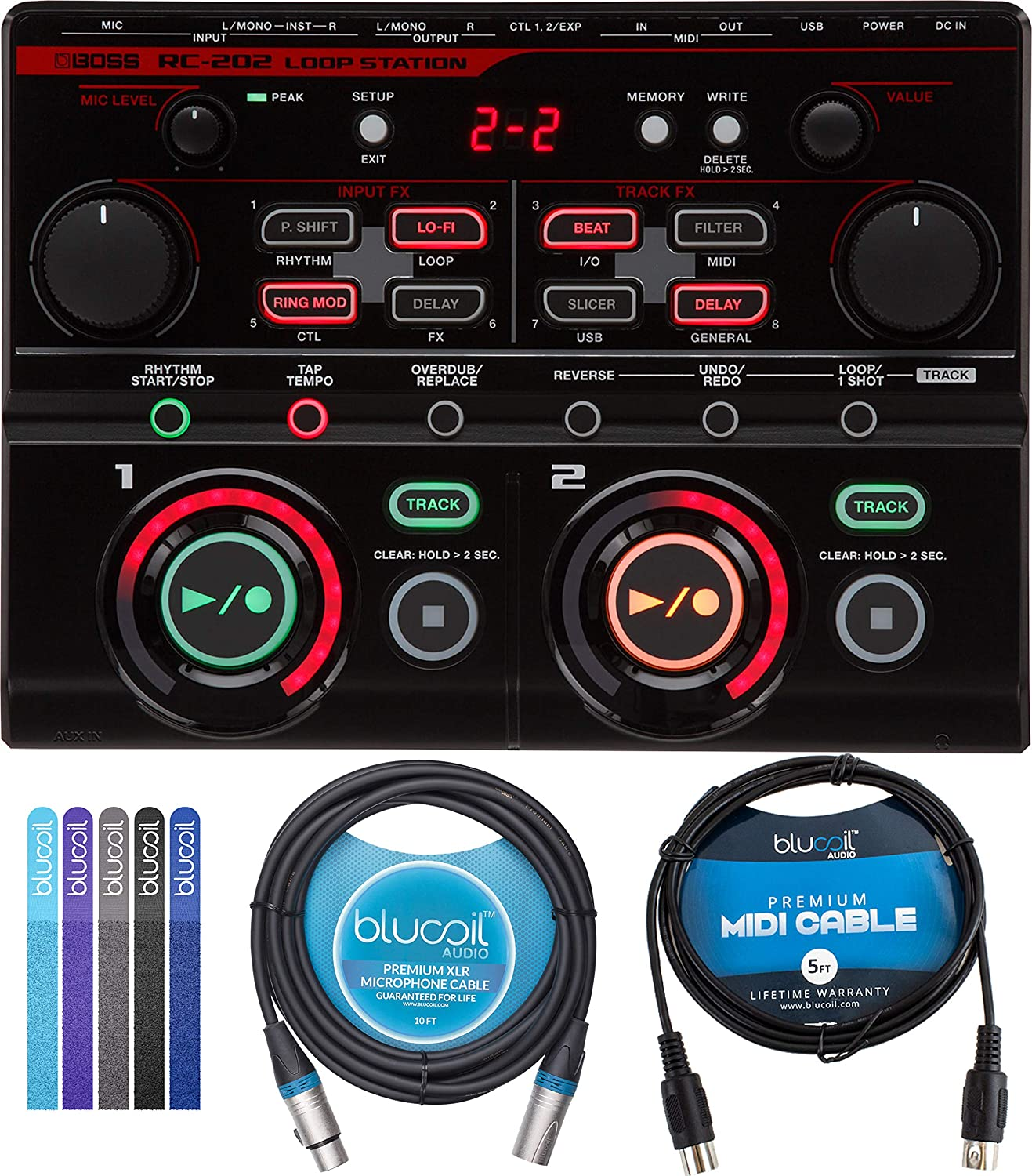 BOSS RC-202 Loop Station with USB Audio//MIDI Connection Bundle with Blucoil 5-FT MIDI Cable 10-FT Balanced XLR Cable and 5-Pack of Reusable Cable Ties