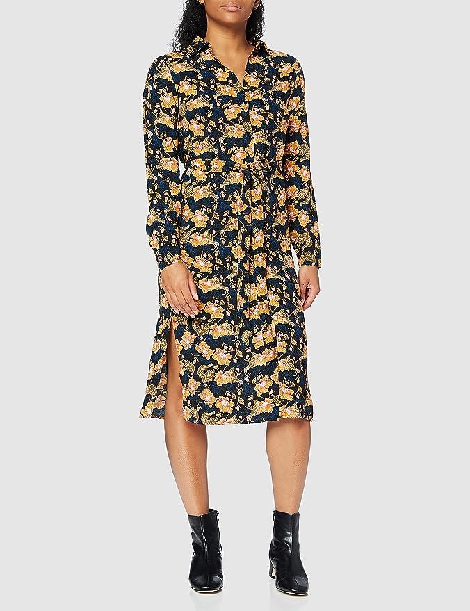 Marca Amazon - find. Vestido Corto Camisero de Flores Mujer