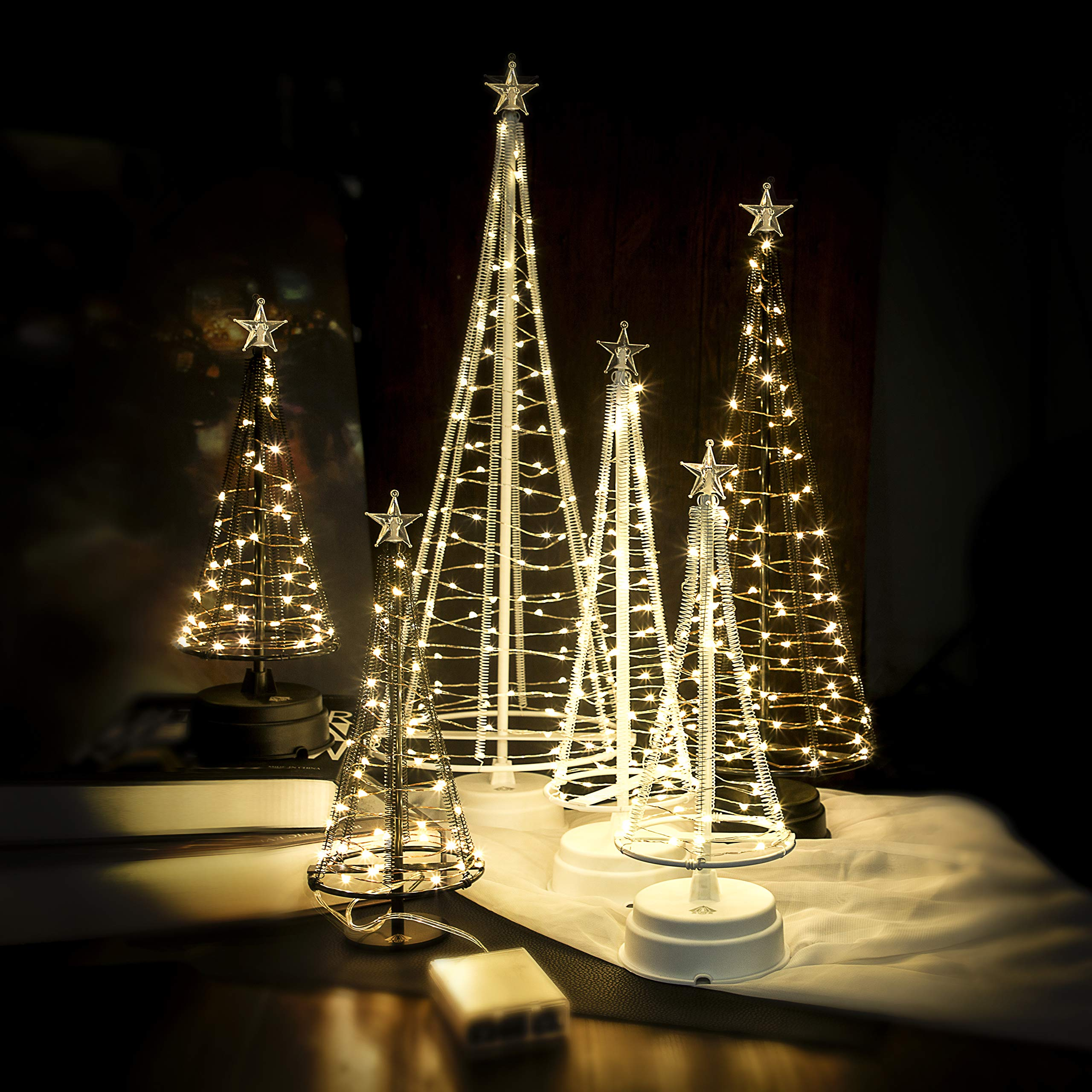 HONESTY Decorative Lights,Lovely Little Tree Lights,Trees with Flat Plate and Battery House Outside for Indoor, 40 Warm White LEDS on Copper Wire, 10.2 inch Tall,White