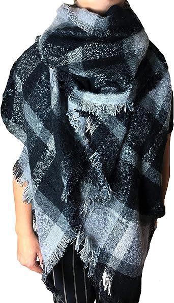 ALZORA – Bufanda de invierno XXL para mujer, muy mullida, gruesa, de algodón, poncho a cuadros, bufanda de otoño, flecos: Amazon.es: Ropa y accesorios