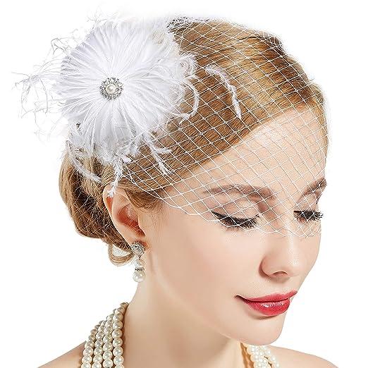3ea90cc046437 BABEYOND Bridal Wedding Fascinator Mesh Feather Fascinator Hair Clip Hair Fascinator  Veil Crystal Wedding Veil (