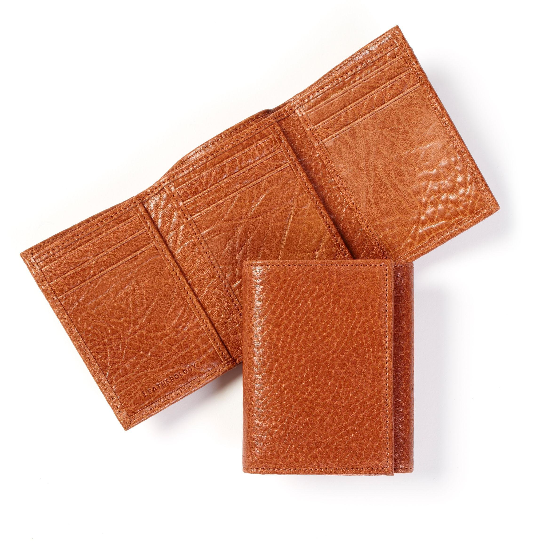 Leatherology Men's Standard Trifold Wallet with ID Window - RFID Available - Italian Leather - Whiskey (brown)