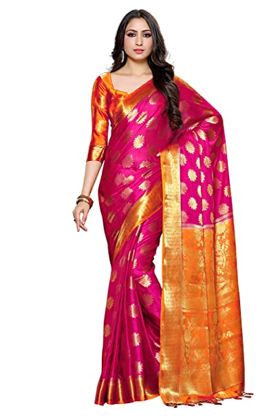 f03ebf0d45 Mimosa Women'S Crepe Saree With Blouse Piece (4042-236-Rd-2D-Rni-Gld_Dark  Pink): Amazon.in: Clothing & Accessories