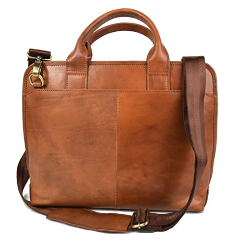 bb5a43154d Amazon.com  Vintage leather shoulder bag carry on bag messenger satchel  ipad tablet leather bag men ladies handbag brown made in Italy  Handmade