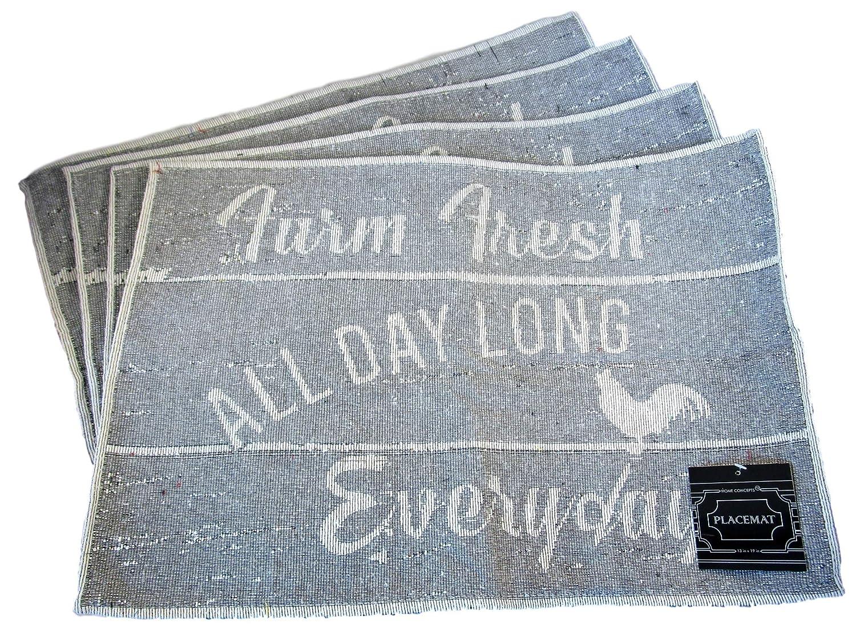 HomeConcepts 農場からテーブルまで織物タペストリープレースマット - バーンボード上の雄鶏  Farm Fresh - All Day Long, Everyday B07RKRBYQM